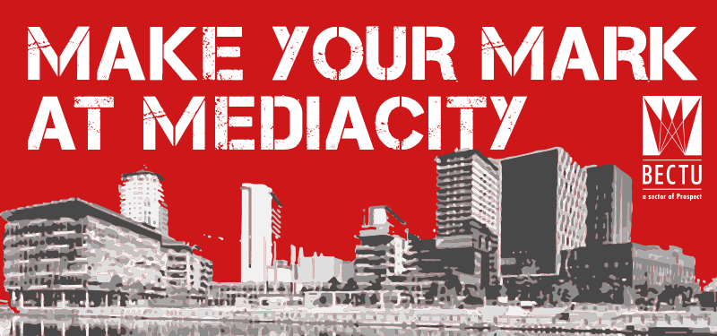 Red and grey graphic showing MediaCityUK outline